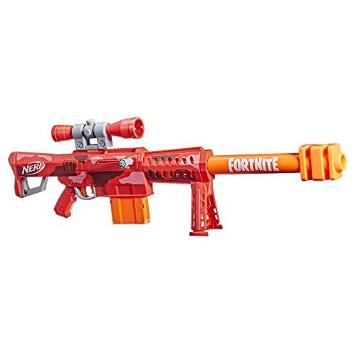 Nerf Fortnite Heavy SR Blaster, längster Nerf Fortnite Blaster, abnehmbares Fernrohr, Bolzen-Action, 6 Nerf Mega Darts, 6-Dart Clip-Magazin