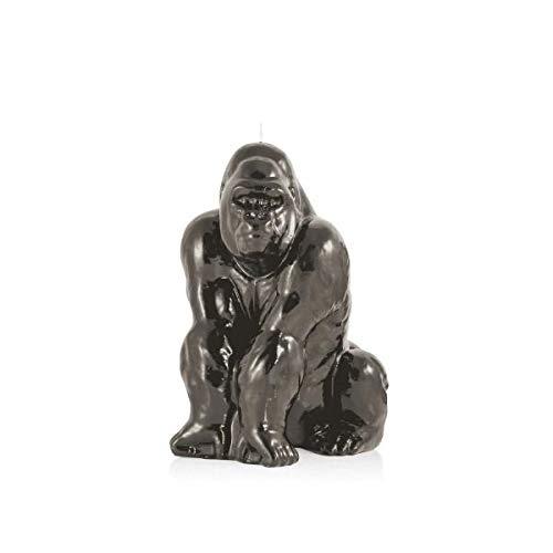 Wachskörper Wachsobjekt Kerze, Gorilla, Silber, 260 x 225 mm, Wachskulptur, Wohnaccessoires, Tierkerze