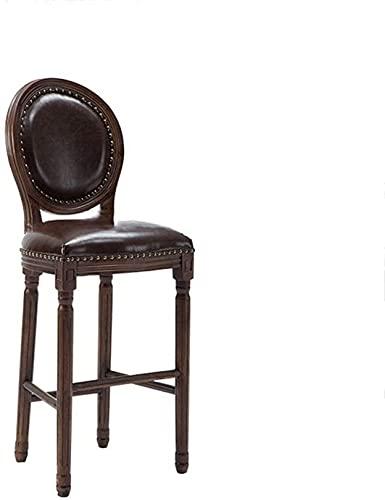 WWJ Banco de Bar, Material de Madeira maciça, retrô, adequado para Mesa de Bar, assento 49 cm, cadeira de jantar marrom (Cor: marrom)