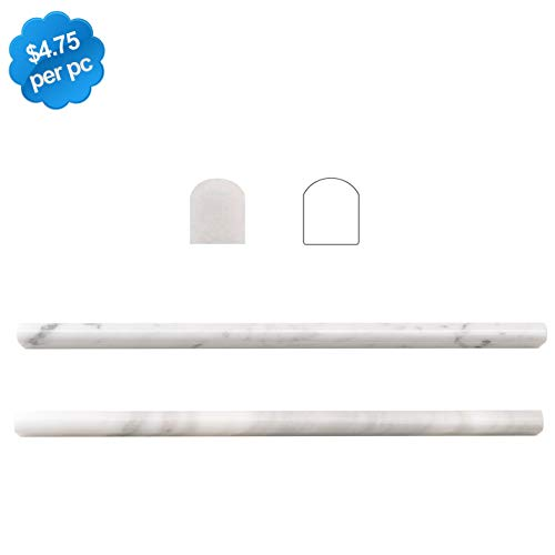Carrara White 20 Pack 1/2'X12' Marble Pencil Liner Tile Polished