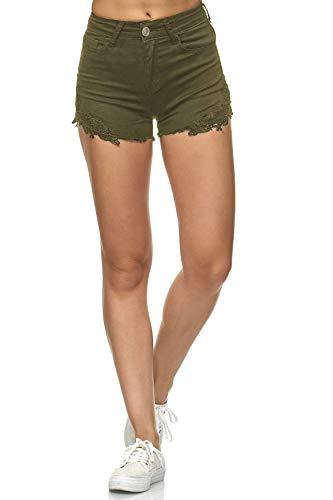 EGOMAXX Damen Jeans Shorts Hose Kurz High Waist Hot Pants mit Spitze, Farben:Khaki, Größe:38