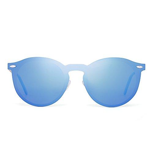 JIM HALO Rotondi Occhiali da Sole Polarizzati Riflettenti Specchio Senza Montatura Un Pezzo Uomo Donna (Oro/Polarizzato Blu)