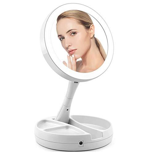 JANEFLY Specchio da Trucco Portatile con Luce A LED, Tabletop Pieghevole 1X 10X Forma Rotonda A Forma di Specchio Comestica Specchio Rasatura per Bagno Camera da Letto