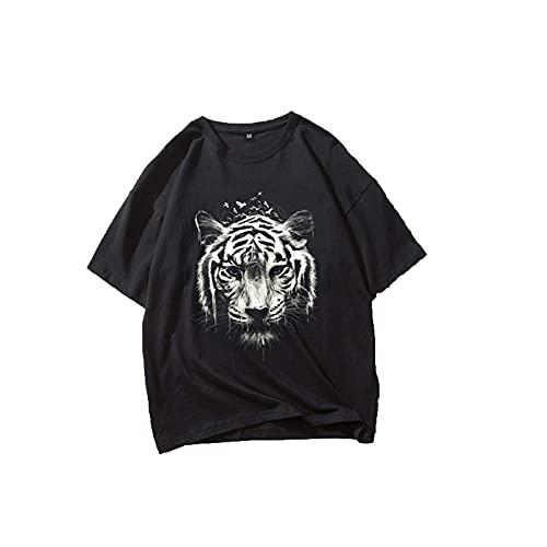 SSBZYES Camiseta De Verano para Hombre, Camiseta Negra De Manga Corta para Hombre, Camiseta De Algodón para Hombre, Camiseta Informal Holgada con Estampado De Cabeza De Tigre Negro, Manga Corta