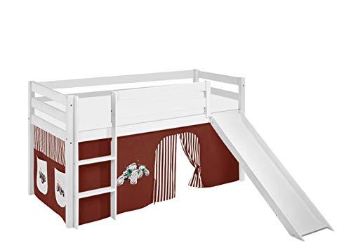 Lilokids Spielbett JELLE mit Rutsche und Vorhang Kinderbett, Holz, weiß, 198 x 98 x 113 cm
