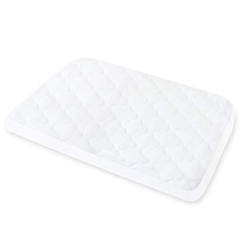 Travel Cot Mattress Protector Waterproof, Quilted Pack N Play Crib Mattress Cover(97x67cm), Fits All Baby Portable Mini Cribs, Ultra Soft, White