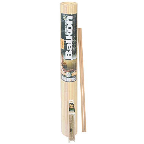 Videx-Sichtschutzmatte Rügen, Kunststoff Bambus, 25 Schlaufen, 3m U-Profil, 90 x 300cm