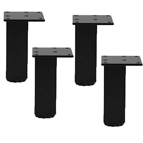 4pcs Piernas de Gabinete de AleacióN de Aluminio,Pies para Muebles de Metal,Patas de Mesa,Ajustable Patas de SofáS,Patas de Cama de Cuadrado,para Gabinete de Tv,Armario(black20cm/7.9in)