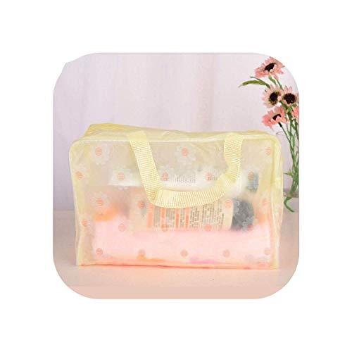 ZWWZ Kosmetische Beutel außer Raum Wasserdichtes PVC-Blumenkulturbadeaufbewahrungstasche T Reise-Accessoires Kosmetik-Beutel-Make Up Organizer-Pink- HAIKE (Color : Yellow, Size : Size)