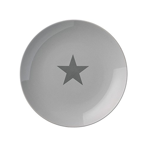 Assiette Star, Bloomingville, Gris avec étoile gris foncé