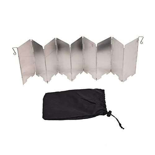Xiangze Faltbar Windschutz Aluminium Windschutz Windschutzscheibe Windscreen mit 9 Aluminiumblech für Öfen/Campingkochern/Gaskochern Weiß