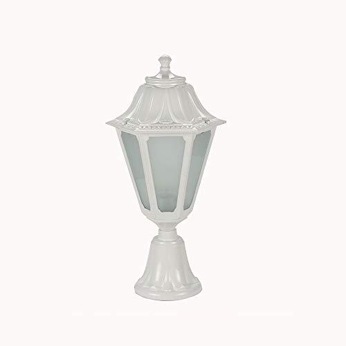 WFZRXFC Lámpara de poste al aire libre simple de estilo europeo blanco Pantalla de vidrio hexagonal Lámpara de poste impermeable y a prueba de herrumbre E27 con luz de pilar de base adecuada para jard