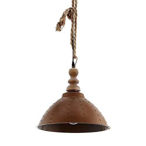 EGLO Riddlecomb - Lámpara de techo colgante, estilo vintage, industrial, retro, madera, acero y cuerda natural, lámpara de mesa de comedor, lámpara colgante en marrón, negro, casquillo E27