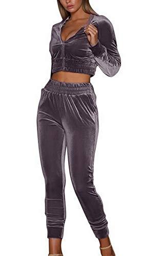 Shujin Damen Samt Sportanzüge 2 Stück Set Sexy Bauchfrei Kapuzenpullover mit Reißverschluss oder Tunnelzug und Slim Fit Jogginghose Jogginganzug