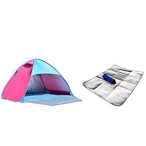 HXQ Automatique Pop up Tente Camping Famille Parc 3 à 4 Personnes Portable (Color : Blueberry Red)