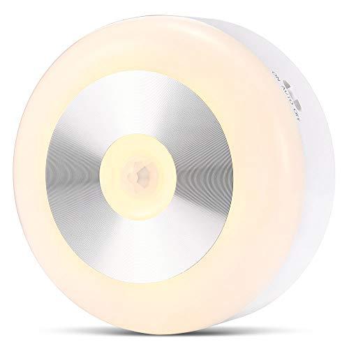 Luces de noche con detector de movimiento, luz nocturna a pilas para niños, luz de noche inalámbrica para bebé, con pastillas adhesivas para armario, escaleras, cocina, dormitorio, baño