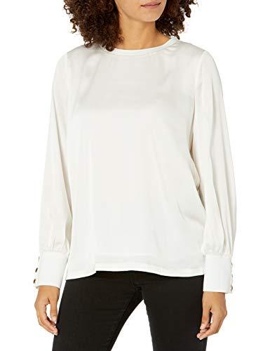 Karl Lagerfeld Paris Damen Rib SLV Cuff Blouse Hemd, elfenbeinfarben, X-Groß