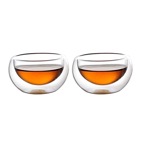 DehuaYao 2 Pieces of Tea Cups with Borosilicate Glass, Best Paired with your Teapot (A-Set of 2)
