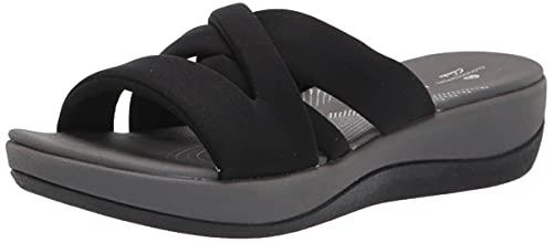 Clarks womens Arla Rilee Slide Sandal, Black Textile, 9.5 US