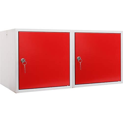 newpo Mega Deal | 2x Schließfachwürfel | HxBxT 35 x 35 x 35 cm | Rot - Garderobe Schließfach Schließfachschrank Schließwürfel