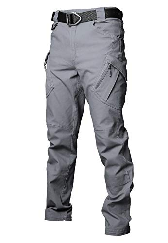 Les umes Mens Outdoor Cargo Work Trousers Ripstop Military Tactical Combat Pants Camping Hiking Trousers Grey 32