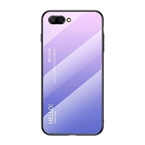 Capa para Honor 10, Capa traseira de vidro temperado fina da YINCANG resistente a arranhões + Capa protetora híbrida de silicone TPU macio para Huawei Honor 10 5,7 polegadas rosa + roxo