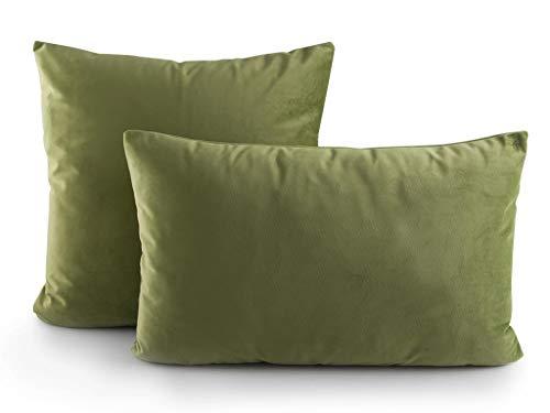 B&H Funda de Cojín, Terciopelo, Verde, Individual, 50x30x2 cm