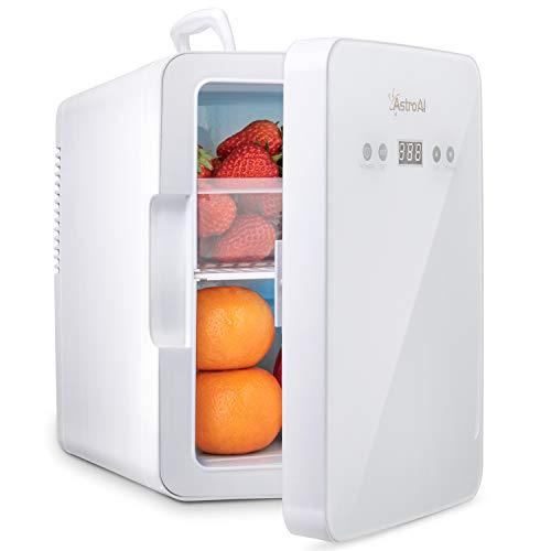 AstroAI Mini Kühlschrank 6 Liter Kühlschrank mit Temperaturregelung, AC/12V(220V) DC Tragbarer thermoelektrischer Kühler und Wärmer für Schlafzimmer, Kosmetik, Muttermilch, Haushalt & Reisen, Weiß
