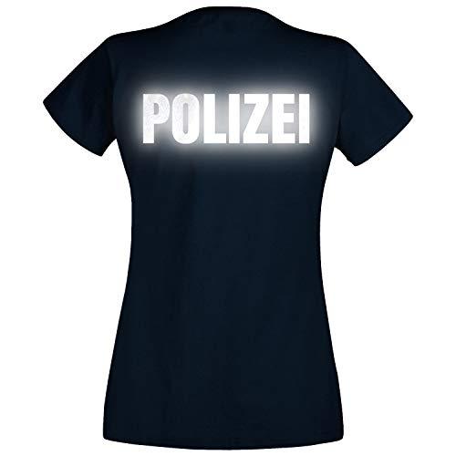 Shirt-Panda Damen Polizei T-Shirt - Druck Brust & Rücken Reflex Dunkelblau (Druck Reflex) M