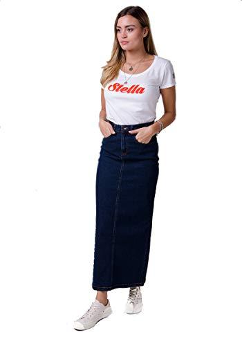 USKEES Jessica Langer Jeansrock - Dark Wash Maxi-Rock Damen Mode EU36-50 JESSICADW-8