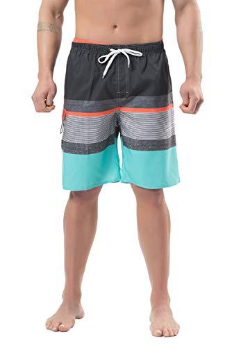 Lncropo Mens Quick Dry Swim Trunks Striped Print Board Shorts with Mesh Lining, Pocket, Elastic Waistband (B9-Grey+Blue(New), 32)
