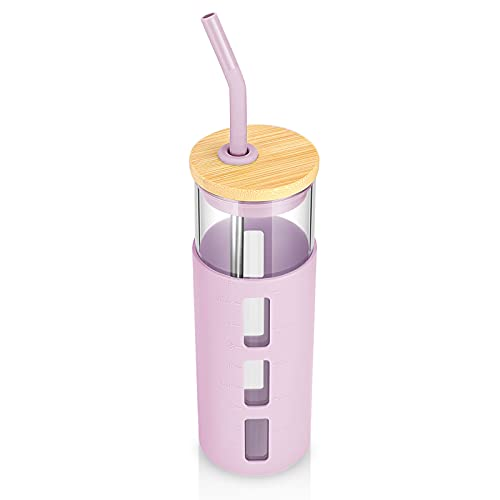 tronco 24oz Glass Tumbler Glass Water Bottle Straw Silicone Sleeve Bamboo Lid- BPA Free (Light Purple)