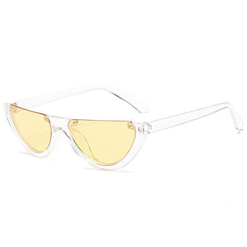 FJCY Gafas de Sol de Ojo de Gato de Medio Marco únicas para Mujer, Gafas de Sol Transparentes de Color Rosa pálido para Mujer, Gafas de Sol para mujer-Bj5158-C2