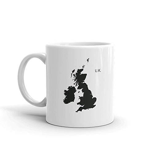 Dozili Lustige Kaffeetasse – Great Britain Piktogramm schottischer amerikanischer Keramik-Kaffeebecher, 325 ml, weiß