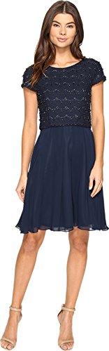 Tahari ASL Women's Daisy Skater Plain 3/4 Sleeve Dress, Blue (Navy), 12 (Manufacturer Size:8)