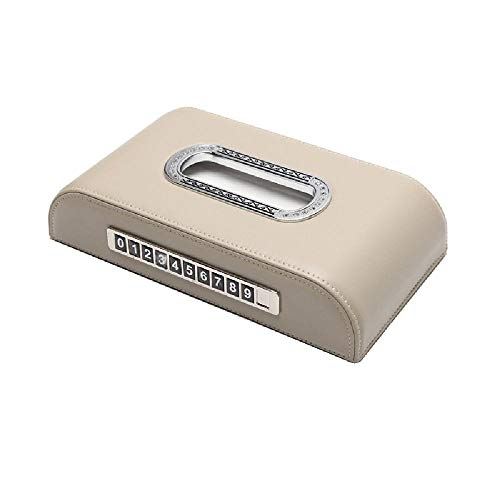 YQZX Caja de Tejido de Coche Signo de estacionamiento Temporal Signo de Tejido Caja de Tejido Consola Panel de Instrumentos Cajón Tarjeta de estacionamiento Multifuncional,Beige