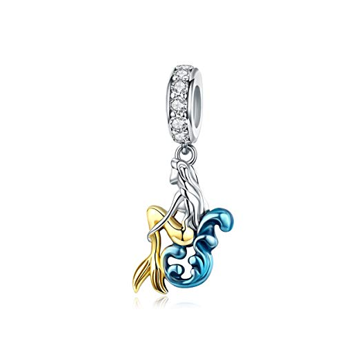 LaMenars Waiting Mermaid 925 Sterling Silver Dangle Charm Fits European Charm Bracelets & Necklaces