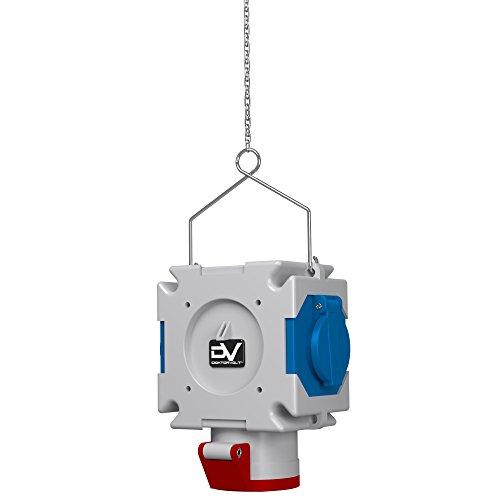 Energiewürfel Stromverteiler mDV französisch System Bals Dosen 2x230V 1x16A/5P 1,5m Verzinktkette Verteiler Kreuzverteiler Hängeverteiler Doktorvolt 2701