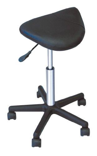 Comair - Taburete con ruedas, color negro, ajustable 57 - 83 cm