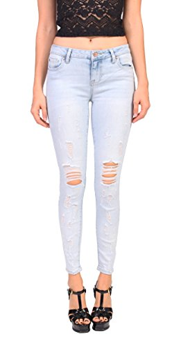 Celebrity Pink Jeans Women Distressed Ankle Skinny Jeans 5 Light Denim