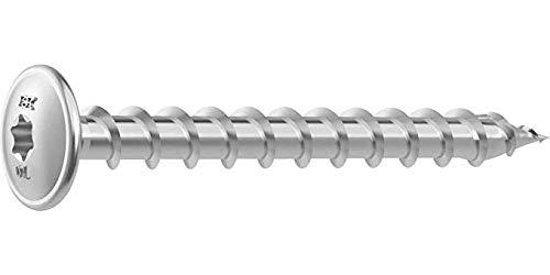 A2 1.4567 Heco Schrauben Tellerkopfschraube Topix Schraube Schrauben T40 8 x 120 mit Gewinde Edelstahl A2, 25 Stück