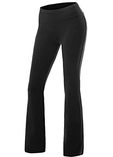 CROSS1946 Damen Yoga Lange Stretch Lagenlook Hose Schwarz Medium