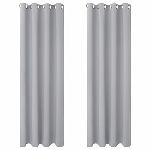BGment Blackout Curtains for Living Room - Grommet Thermal Insulated Room Darkening Curtains for Bedroom, Set of 2 Panels (52 x 84 Inch, Light Grey)