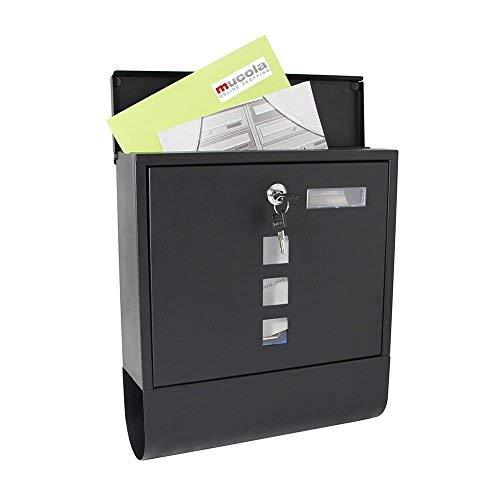 Melko Design Briefkasten mit Zeitungsfach 30x33,5x10cm Wandbriefkasten Schwarz mit wetterfester Rostschutzlackierung