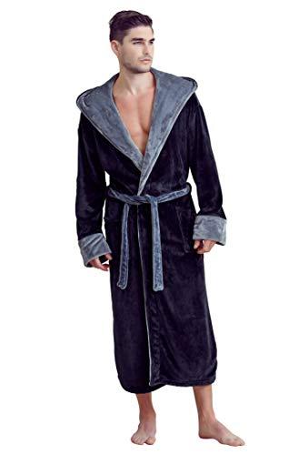 Soft Touch Linen Men's Bath Robe – Hooded Robe – Polyester Full-Length Warm Kimono