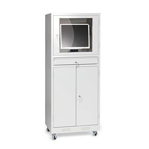 Protaurus Computerschrank, Tastaturschublade mit Vollauszug, Schrankfach für Computer und Drucker, Monitorfach bis 24 Zoll, Lichtgrau RAL 7035