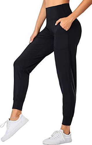 Oalka Women's Joggers High Waist Yoga Pockets Sweatpants Sport Workout Pants Black M
