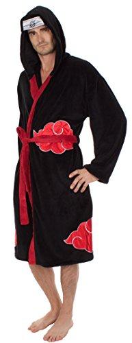 Naruto Shippuden Akatsuki Anti Leaf Clouds Symbol Anime Cosplay Costume Hooded Fleece Pajamas Bathrobe Black