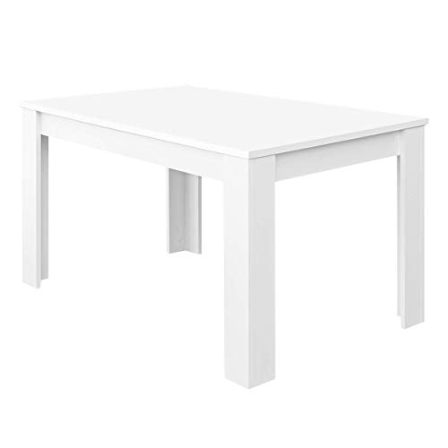 Habitdesign Mesa de Comedor Extensible, Mesa salón o Cocina, Acabado en Color Blanco Artik, Modelo Kendra, Medidas: 140-190 cm (Largo) x 90 cm (Ancho) x 78 cm (Alto)