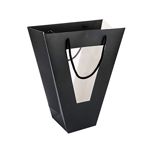 Flower bouquet gift bags are made of strong kraft paper, smooth matte finish, well constructed with soft handles, sturdy and durable Black gift bags are designed in trapezoid, upper part: 11 x 17cm/4.3 x 6.7 inch; bottom: 11 x 11cm/4.3 x 4.3 inch; he...